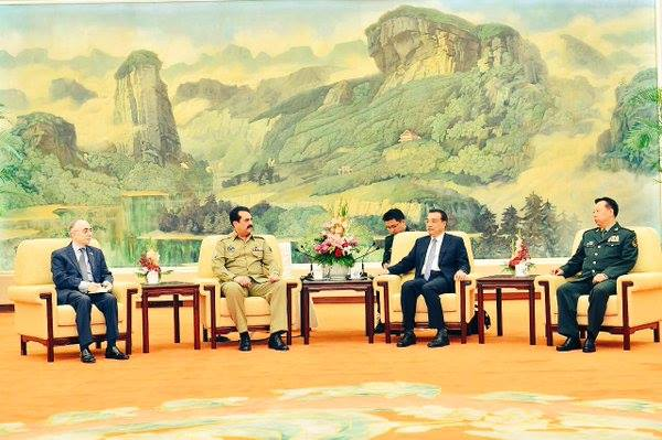 Pakistan's amy chief, General Raheel Sharif, with Chinese premir, Li Keqiang, in Beijing, May 2016. Credit: ISPR