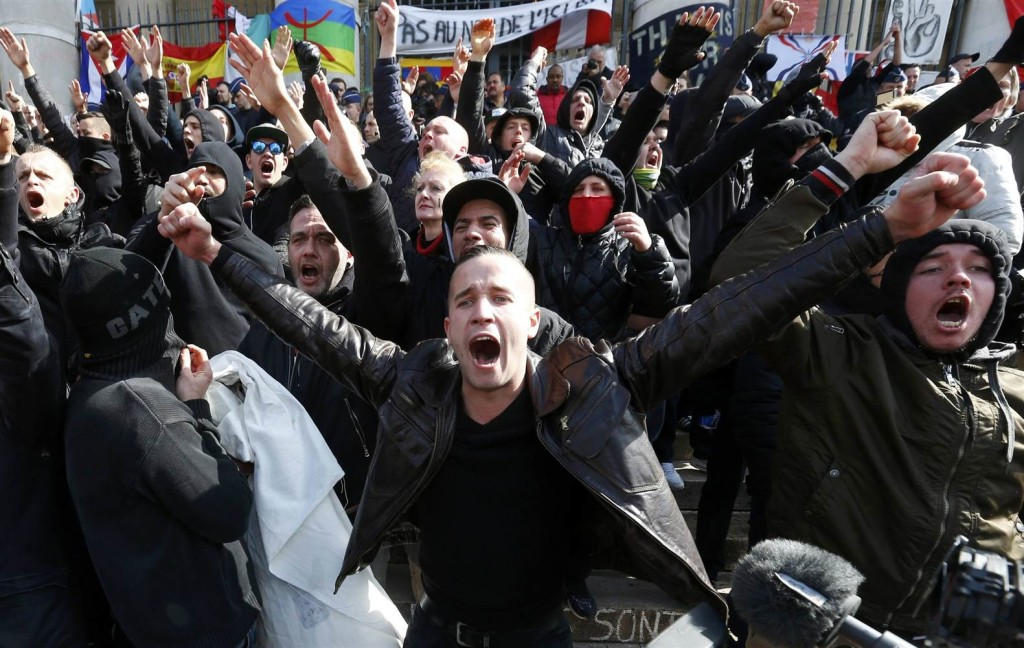 Right wing demonstrators protest in Brussels. Credit: Reuters