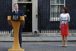 Britain's Prime Minister David Cameron speaks after Britain voted to leave the European Union, as his wife Samantha watches outside Number 10 Downing Street in London, Britain June 24, 2016. Credit: Reuters