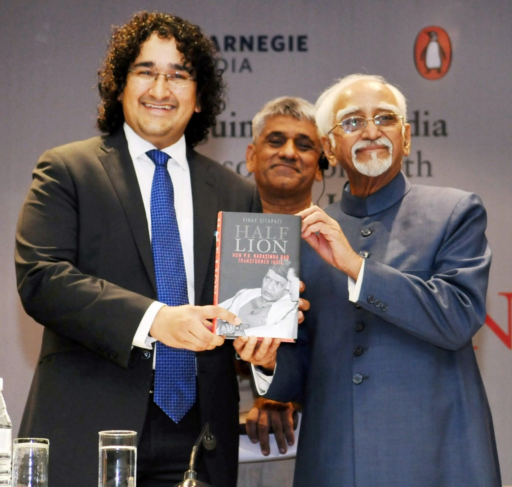 New Delhi: Vice President M Hamid Ansari releasing the book on P V Narasimha Rao titled 'Half-Lion', authored by Vinay Sitapati, in New Delhi on Monday. Credit: PTI