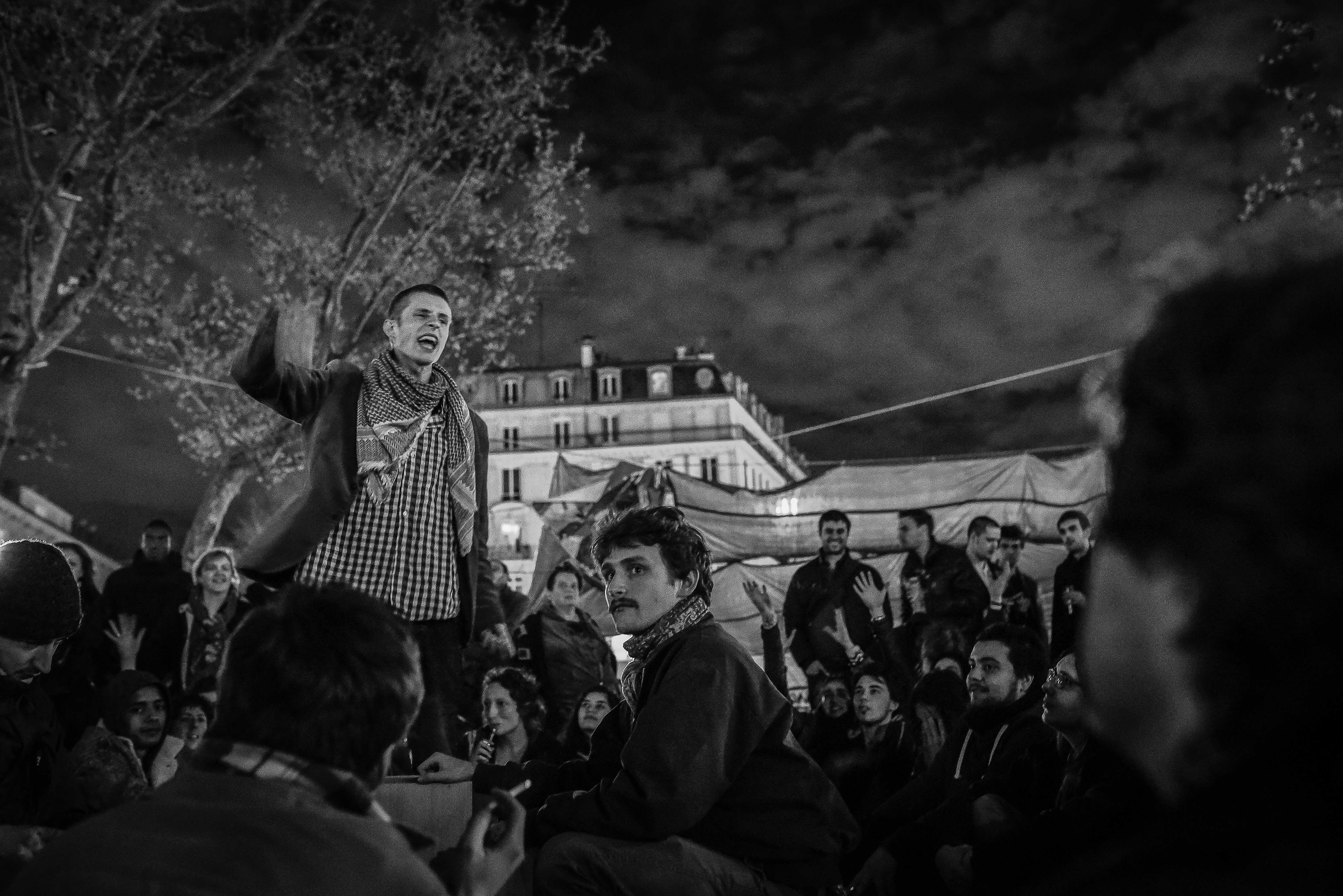 An activist from the Southern city of Montpellier speaking at the General Assembly of Nuit debout. Paris, April 2016. Credit: Laurent Gayer