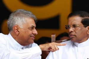 Sri Lankan President Maithripala Sirisena (right) with Prime Minister Ranil Wickremesinghe. Credit: Reuters