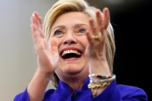 US Democratic presidential candidate Hillary Clinton claps her hands after finishing her speech during a campaign stop in Long Beach, California, United States June 6, 2016. Credit: Reuters/Mike Blake