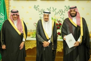 (L-R) Saudi Crown Prince Mohammed bin Nayef, Saudi King Salman, and Saudi Arabia's Deputy Crown Prince Mohammed bin Salman stand together as Saudi Arabia's cabinet agrees to implement a broad reform plan known as Vision 2030 in Riyadh, April 25, 2016. Credit: Saudi Press Agency/Handout/File Photo via Reuters/Files