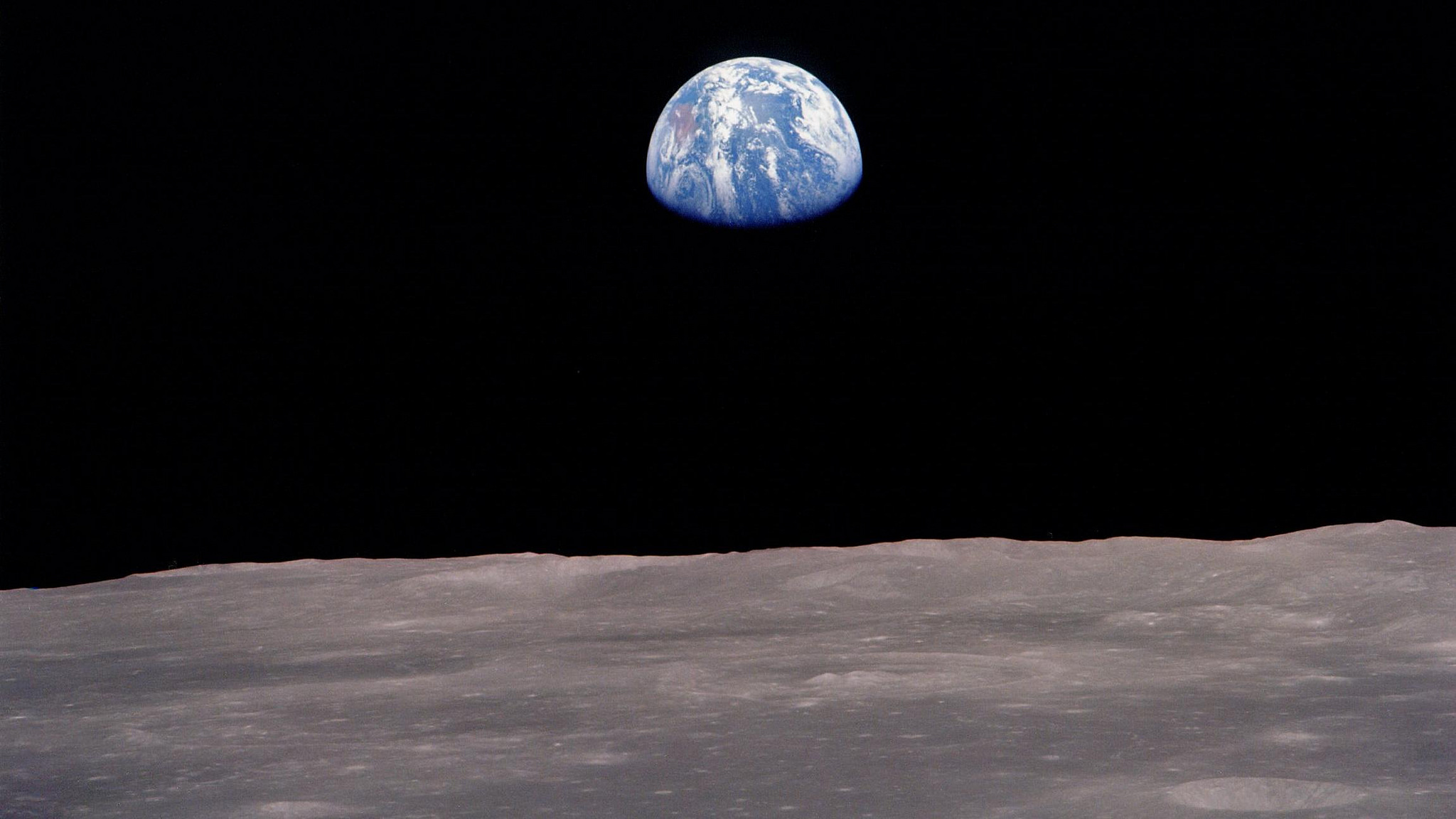 Earthrise, as seen from the Moon. Credit: mvannorden/Flickr, CC BY 2.0