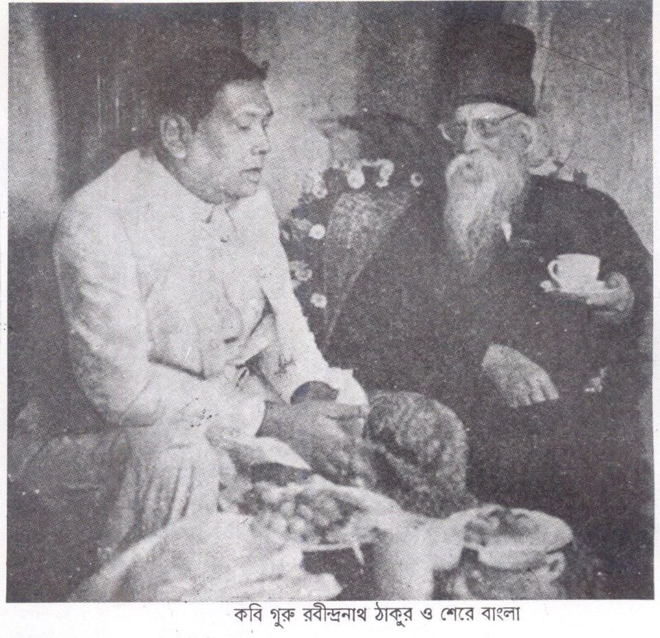 Contemporary newspaper photo of Huq with Abinendranath Tagore