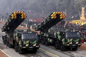 Indian army officers stand on vehicles displaying missiles during the Republic Day parade in New Delhi, India, January 26, 2016. Credit: Reuters/Altaf Hussain
