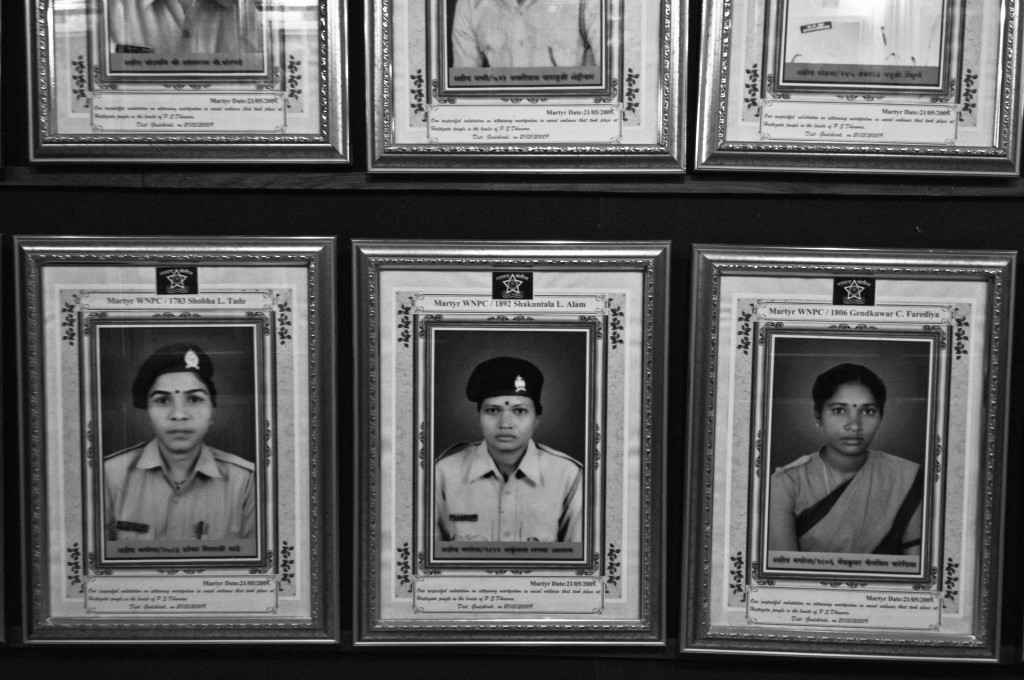 The portraits of martyred policewomen Shobha Tade, Shakuntala Alam and Gendkumar Faridiya, who were killed on May 21, 2009, in one of the deadliest ambushes in Gadchiroli history. Credit: Javed Iqbal