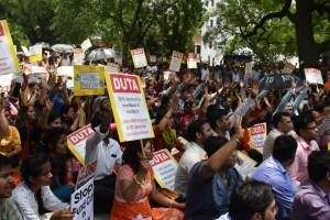 University teachers in Delhi protesting the . Credit: Trina Shankar