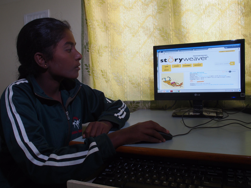 A schoolgirl is introduced to StoryWeaver during a workshop in Shishumandir school, Bangalore. Credit: Pratham