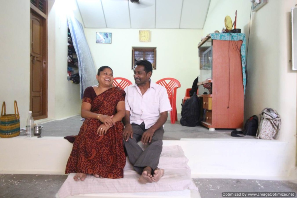 Mugilan and his wife, Poongkodi, at their home. Chennimalai, Tamil Nadu.