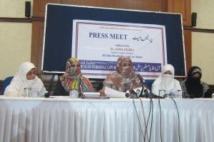The five signatories of the statement – Asma Zehra (executive member, AIMPLB), Mamduha Majid (member, AIMPLB), Zinat Mehtab (convenor, Islah-e-Moashra for Delhi Women), Samina Tabish (joint convener, Islah-e-Moashra for Delhi Women) and Umme Aimen (member, Islah-e-Moashra for Delhi Women) – at a press conference in New Delhi.