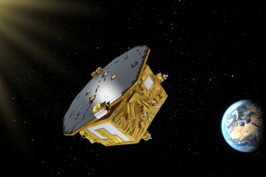 An artist's illustration of the LISA Pathfinder mission in space. Credit: ESA