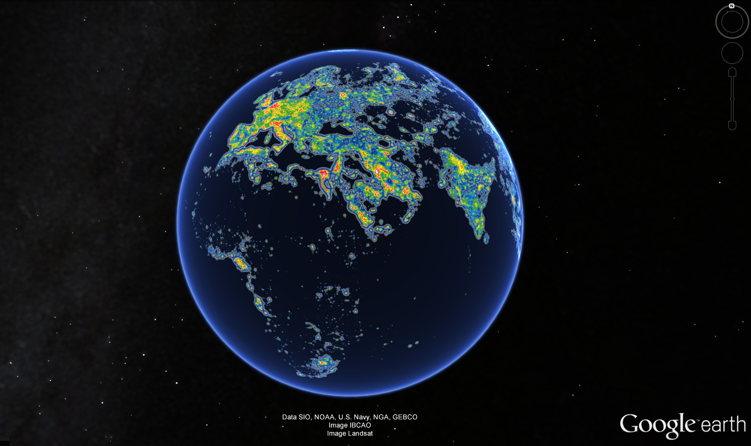 The Middle East and north Africa in the New World Atlas of Artificial Sky Brightness, as seen in Google Earth. Source: Science