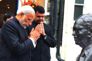 Prime Minister Narendra Modi at the Ambedkar Memorial in London. Credit: PIB/Twitter