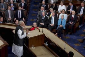 Prime Minister Narendra Modi addressing a joint meeting of Congress on Capitol Hill in Washington on June 8. Credit: PTI