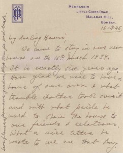 """... exactly six years ago. How glad we were to have a house of our own & what trouble father took over it..."" Meherbai to Homi Bhabha, March 16, 1945. Credit: TIFR Archives"