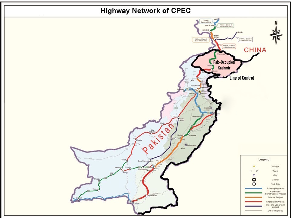 Road network of the China Pakistan Economic Corridor. The proposed roads pass through Pakistan-occupied Kashmir.