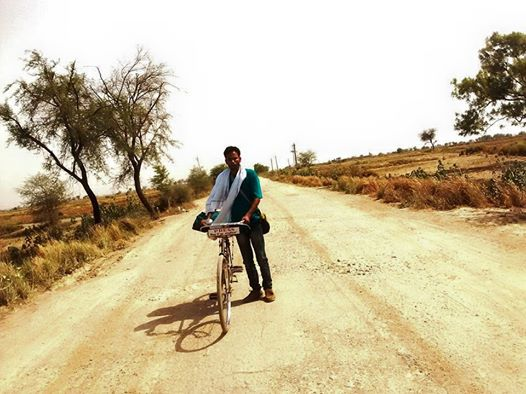 Shah Alam traversing the Chambal terrain on his bicycle. Picture courtesy: Shah Alam.