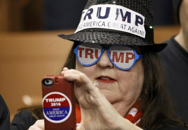 A Donald Trump supporter at a Trump campaign rally in Manchester, New Hampshire, February 8, 2016. Credit: Reuters/Rick Wilking