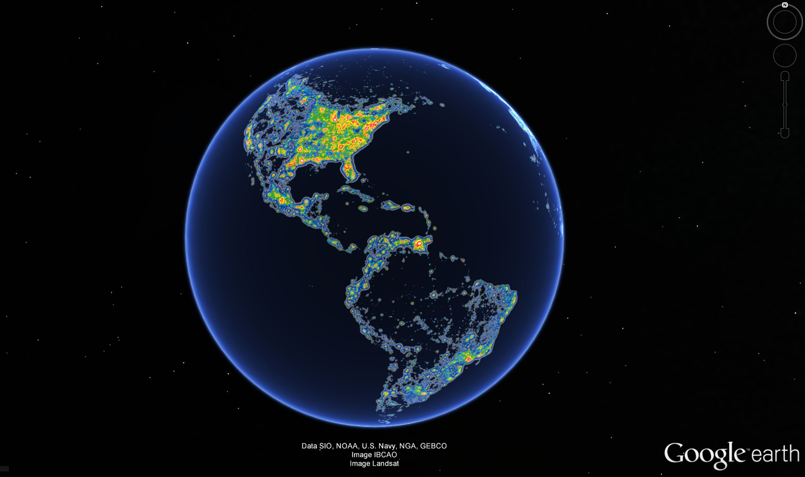 The Americas in the New World Atlas of Artificial Sky Brightness, as seen in Google Earth. Source: Science