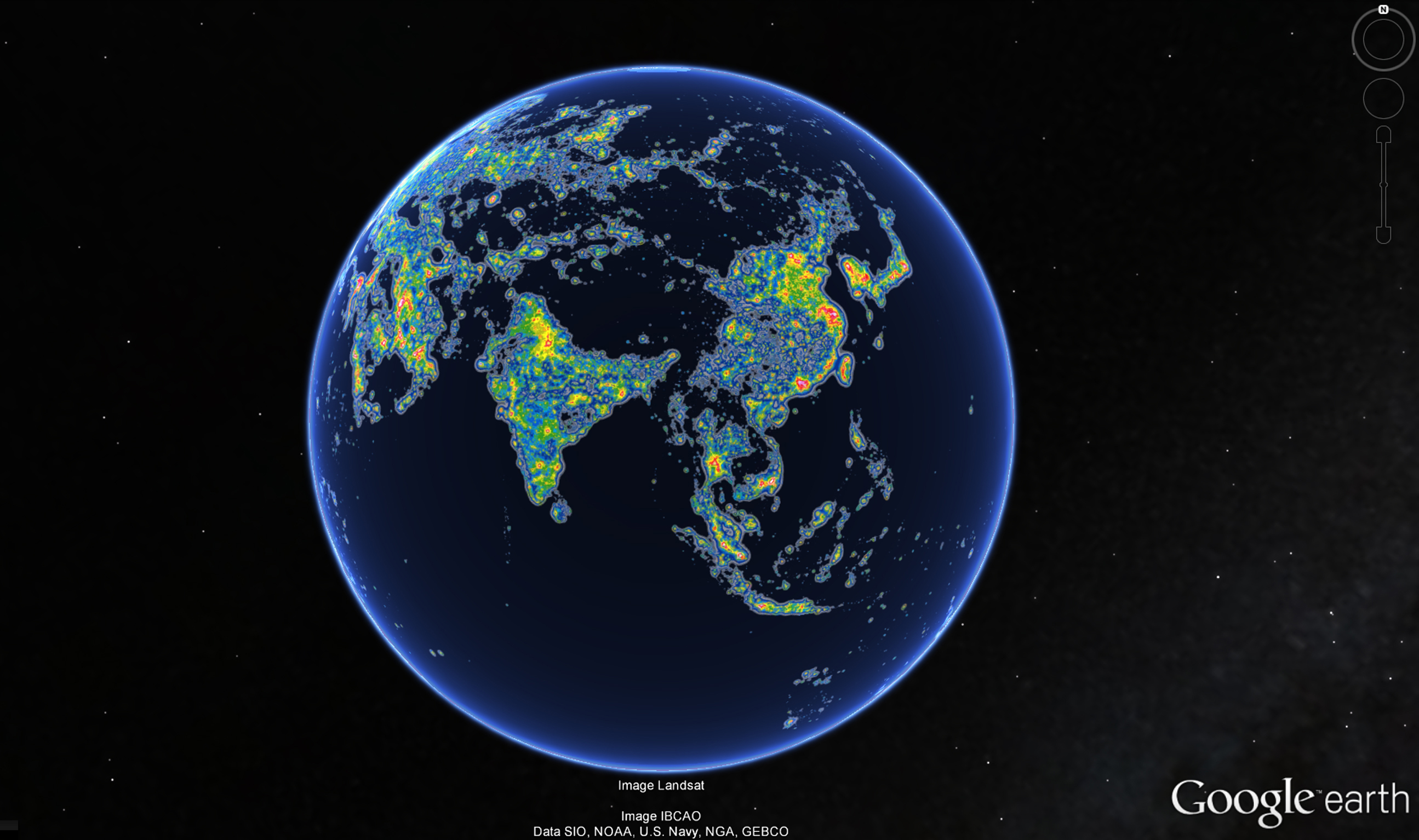Asia in the New World Atlas of Artificial Sky Brightness, as seen in Google Earth. Source: Science