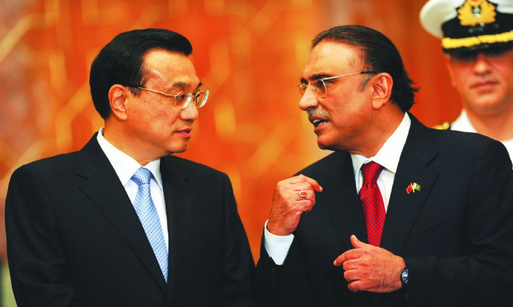 Chinese Prime Minister Li Keqiang and Asif Ali Zardari, then President of Pakistan, converse in Islamabad in 2013. Credit: China Daily Images.