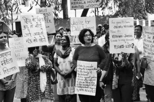 Activists staging a protest demanding justice for the Perumbavoor rape at Kerala Bhavan in New Delhi. Credit: PTI