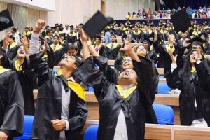 Students celebrate at the first South Asian University convocation. Credit: PTI