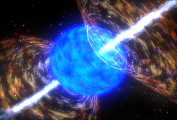 Artist's rendition of a gamma ray burst destroying a star. Image: NASA Goddard Space Flight Center