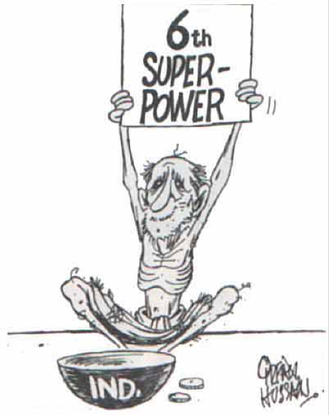A cartoon after the 1998 Pokhran nuclear tests by the late Irfan Hussain. Credit: Irfan Hussain/ Outlook