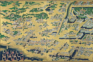 A 17th-century folding screen depicting the early Edo period on the site of modern-day Tokyo. Credit: Wikipedia