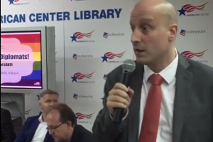 Alexander Evans of the British high commission speaking at the American Library in Delhi on Friday at an event on LGBTI rights. Credit: Facebook