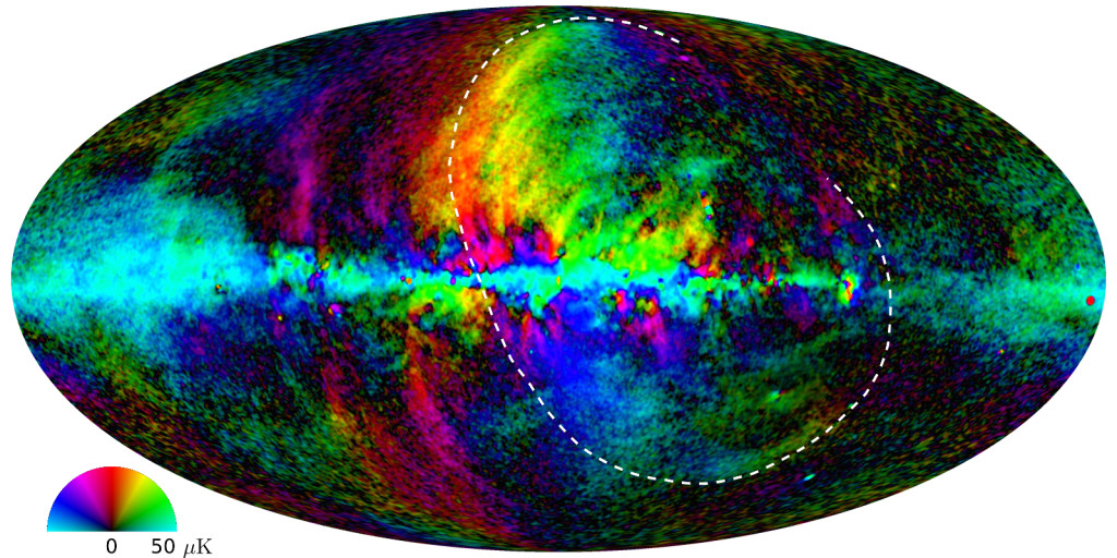 The new Planck map of the sky in microwaves with Loop I marked. Credit: Planck/ESA