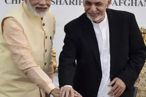 Prime Minister Narendra Modi with Afghan president Ashraf Ghani inaugurate the Indian-funded Salma Dam in Herat, Afghanistan on Saturday. The dam has been constructed at a cost of about Rs 1400 crore. Credit:  PTI/Kamal Kishore