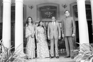 Photograph of Rajiv Gandhi and Sonia Gandhi with Maummon Abdul Gayoom and Mrs. Gayoom at the official residence of the Maldives President at Male of February 7, 1986. Credit: Photo Division
