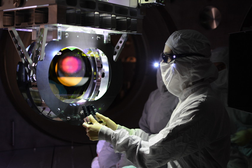Engineers inspecting the optics at the LIGO Livingston detector. Credit: LIGO Scientific Collaboration
