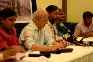The panel of activists speaking at a press conference on compliance with Supreme Court drought orders. Credit: Erum Gour