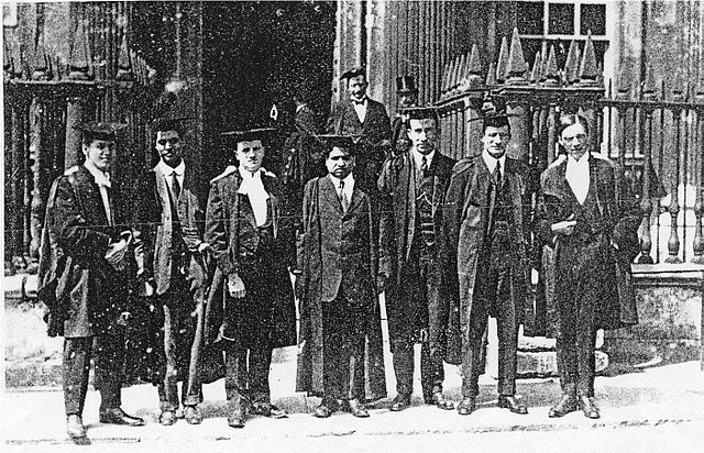 Ramanujan, centre, with his colleagues in Trinity College. Credit: Wikimedia Commons