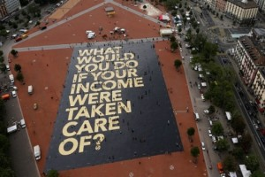 An 8,000 square meter poster on the Plainpalais square in Geneva. Credit: Reuters