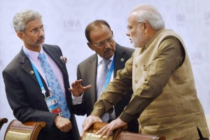 The brains trust of Indian foreign policy today: Foreign secretary S. Jaishankar, national security adviser Ajit Doval, and Prime Minister Narendra Modi. Credit: PTI