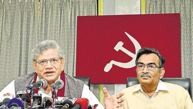 CPI(M) leader Sitaram Yechury, speaking to the media after the recent election results. Credit: PTI