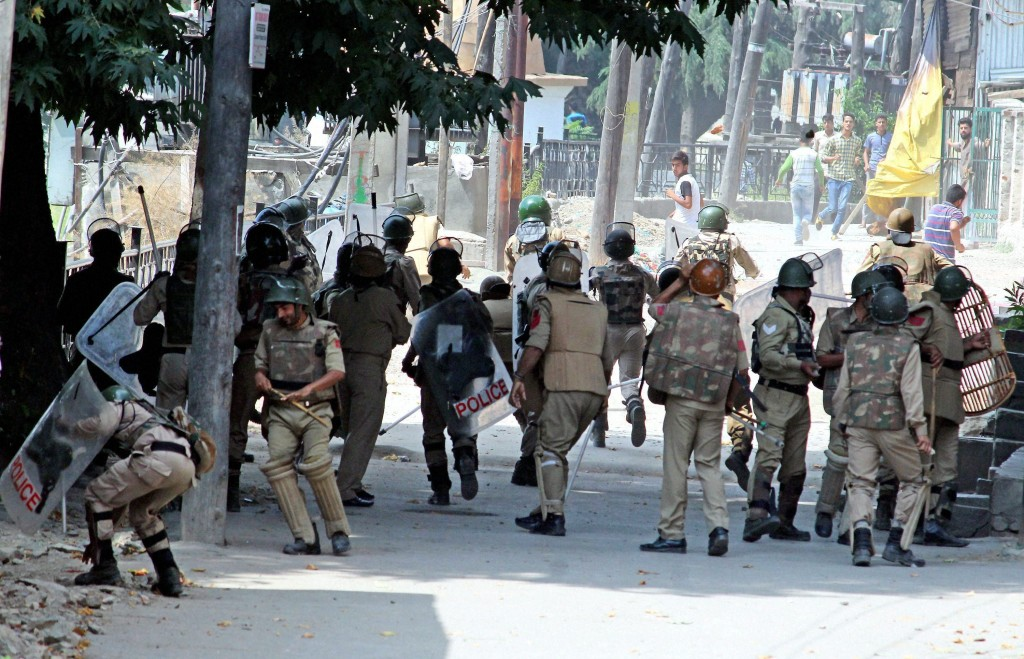 CRPF personnel during a clash in Srinagar on Tuesday. Credit: PTI