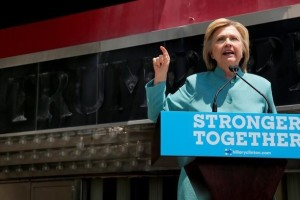 U.S. Democratic presidential candidate Hillary Clinton delivers a campaign speech outside the shuttered Trump Plaza in Atlantic City, New Jersey, July 6, 2016.  REUTERS/Brian Snyder
