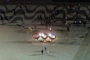 The Olympic rings placed on Copacabana beach is pictured from above in Rio de Janeiro, Brazil, less than two weeks before the start of the 2016 Rio Olympic Games, July 23, 2016. Credit: Reuters/Ricardo Moraes