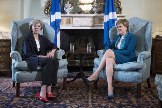 New British Prime Minister Theresa May meeting First Minister of Scotland, Nicola Sturgeon at Bute House in Edinburgh, Scotland, July 15, 2016. Credit: Reuters/James Glossop