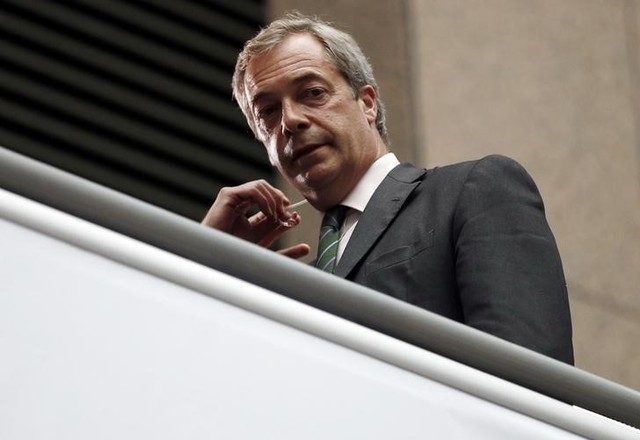 The leader of the United Kingdom Independence Party Nigel Farage looks on as he waits for TV interview during the EU Summit in Brussels, Belgium, June 28, 2016. Credit: Reuters/Phil Noble