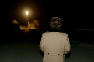North Korean leader Kim Jong Un watches the ballistic rocket launch drill of the Strategic Force of the Korean People's Army (KPA) at an unknown location, in this undated photo released by North Korea's Korean Central News Agency (KCNA) in Pyongyang on March 11, 2016.          REUTERS/KCNA/File Photo     ATTENTION EDITORS - THIS PICTURE WAS PROVIDED BY A THIRD PARTY. REUTERS IS UNABLE TO INDEPENDENTLY VERIFY THE AUTHENTICITY, CONTENT, LOCATION OR DATE OF THIS IMAGE. FOR EDITORIAL USE ONLY. NOT FOR SALE FOR MARKETING OR ADVERTISING CAMPAIGNS. NO THIRD PARTY SALES. NOT FOR USE BY REUTERS THIRD PARTY DISTRIBUTORS. SOUTH KOREA OUT. NO COMMERCIAL OR EDITORIAL SALES IN SOUTH KOREA. THIS PICTURE IS DISTRIBUTED EXACTLY AS RECEIVED BY REUTERS, AS A SERVICE TO CLIENTS.