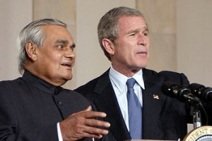 Former Prime Minister Atal Bihari Vajpayee with former US President George W. Bush. Credit: Reuters