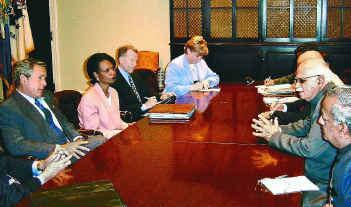 India's former Deputy Prime Minister L.K. Advani with former US President George W. Bush and ex-National Security Advisor Condoleeza Rice. Credit: PTI